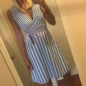 Blue + white striped dress.